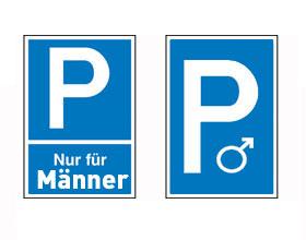 Schild Männerparkplatze